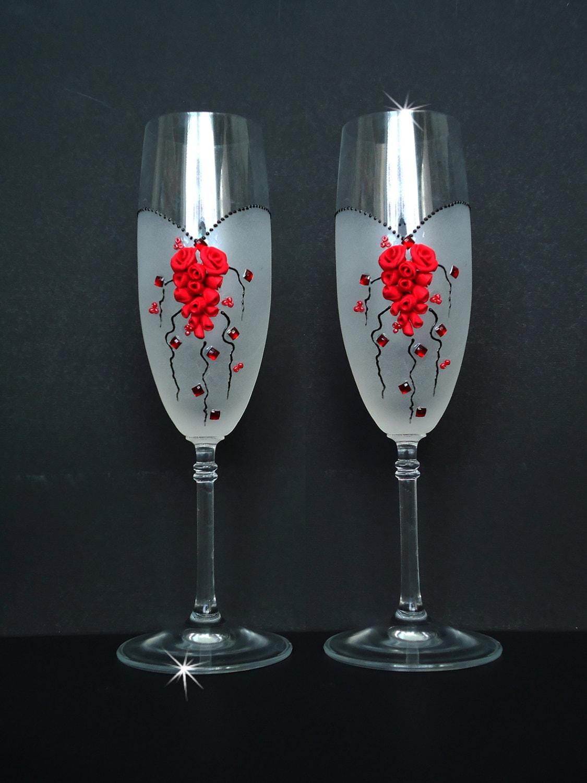 Wedding champagne flutes toasting flutes glasses with for Wedding champagne flutes