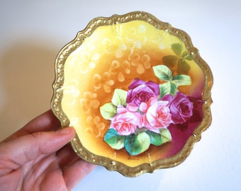 Antique German Hand Painted Plate with Pink Roses - C.T. Germany American Beauty