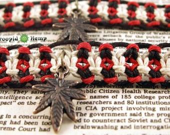 Glow in the Dark Hemp Friendship Bracelets - 420 Red Black White Best Buds Roach Clip Friendship Bracelets Marijuana Cannabis Weed Hemp Leaf