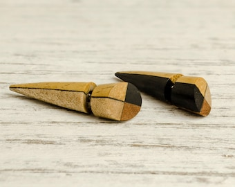 Spike Fake Gauges Earrings Wooden Earrings Tribal Brown Wood Organic - FG069 4W G2