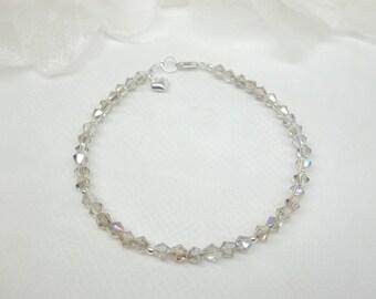 Silver AB Crystal Bracelet Gray Bracelet Gray Crystal Bracelet Heart Bracelet 925 Sterling Silver Bracelet Gift For Her BuyAny3+Get1 Free