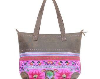Genuine Leather Handbag Purple Embroidered Hmong Fabric Thailand (BG202W-PUF)