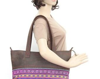 Gorgeous Leather Handbag Embroidered Hmong Fabric Handmade Thailand (BG202W-PIDIA)