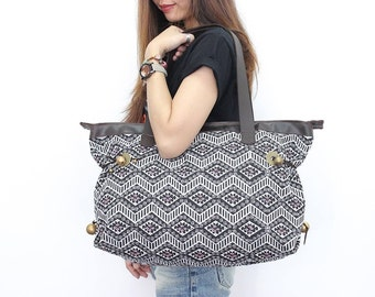Tote Bag Genuine Leather Strap Black&White Pattern Embroidered Fabric  (BG715-4C8)