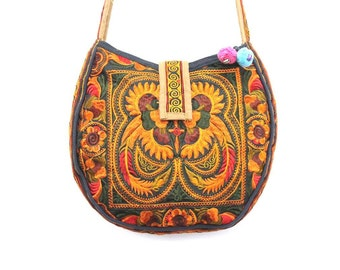 Cross-Over Bag Tagnerine Orange Fair Trade Hill Tribe Embroidery Fabric Thailand (BG136S-OB)