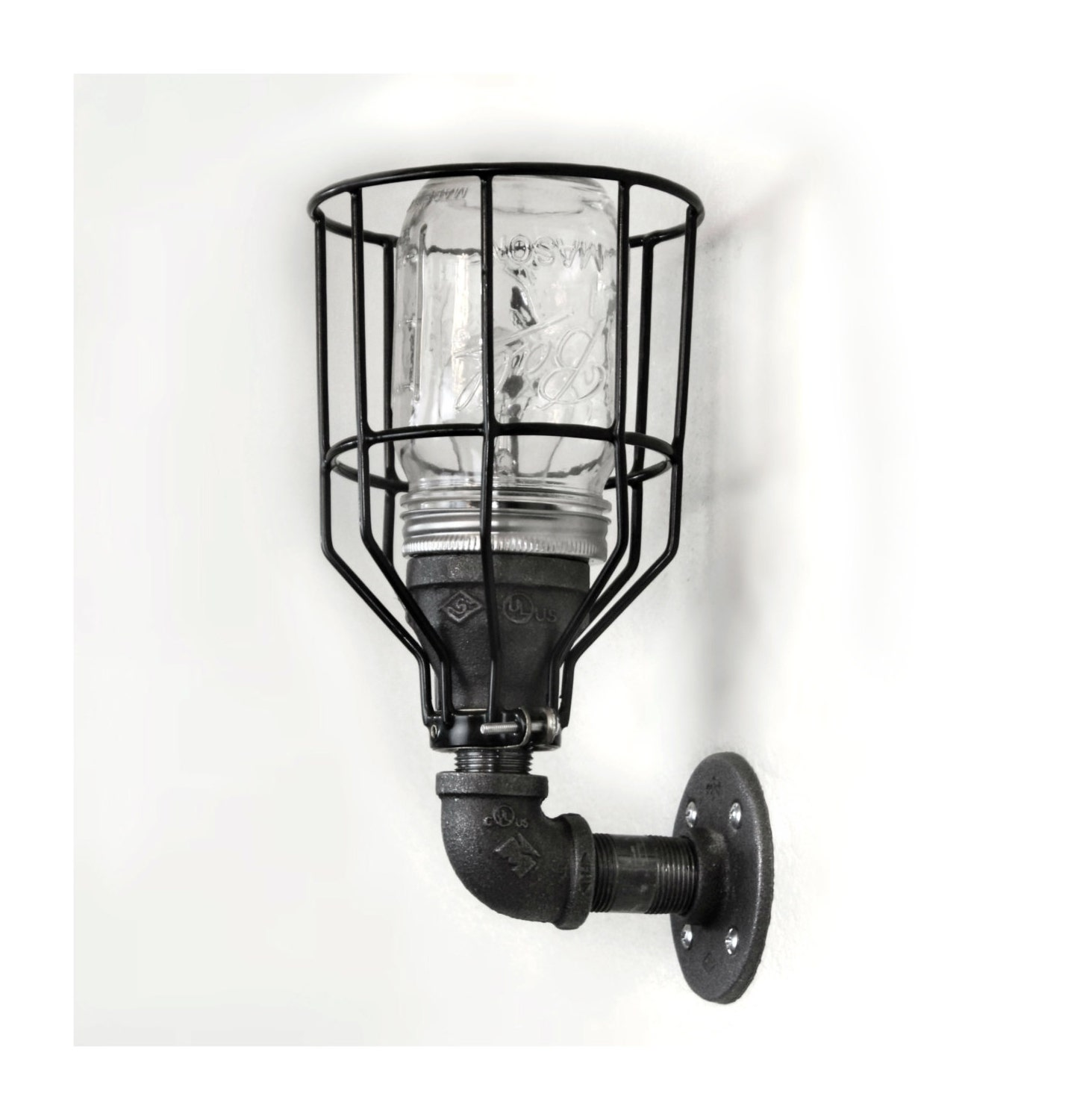 Industrial Pipe Wall Light: Industrial Pipe Wall Sconce Industrial Farmhouse Mason Jar W/