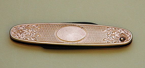 Antique C 1900-10 Made In U S A Ladies or Gent's FOLDING POCKET Fruit KNIFE Gold Filled 2 Blades No Initials Etched w/ Floral Design