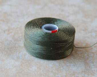 Olive S-Lon / Superlon Beading Thread, Tex 45, Size D, 1 Bobbin (INDOC513)