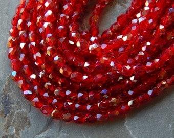 4mm Twilight Siam Ruby PRECIOSA Traditional Czech Fire Polished Glass Beads, Full Strand / 50 PC (INCZ623)