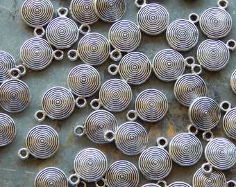 12X9mm Antique Silver Flat Round Spiral Charm Pendants, 10 PC (INDOC397)