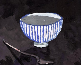 archival print of original acrylic painting of tee cup and spoon, black, blue, white