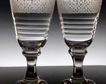Celtic Knot Wine Glasses  Set of Two large wine goblets  Glassware engraved glass