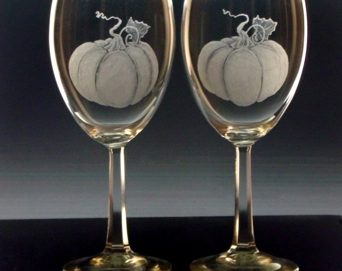 Pumpkin wine glass set of four , fall , Halloween wine glasses , Autumn harvest decor , Thanksgiving entertaining Hand engraved , etched