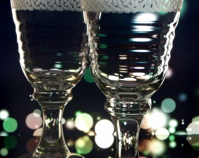 Glassware , Wine Glasses , Set of Two large wine goblets , Celtic Knot