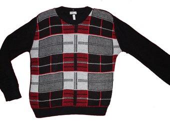 Vintage Plaid Wool Sweater - Cropped Jumper- Tartan Jumper- large 42 - Free UK Postage