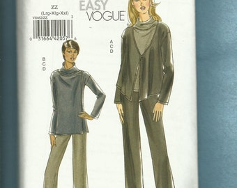 Vogue 8462 Easy Fitting Jacket Raised Neckline Tops and Slimming Pants Sizes L..XL..XXL Uncut