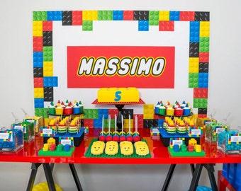 "BUILDING BRICKS Backdrop Banner - Birthday Party Printable Artwork - Digital Personalized File - 60""w x 40""h - You Print"