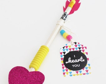 VALENTINES Favors - Bohemian Indian Arrow Style Cupids Arrow Includes Tags & Feather shapes. DIY You Print.
