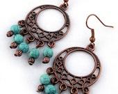 Turquoise Bohemian Chandelier Earrings, beaded earrings, turquoise earrings, gypsy earrings, copper earrings, boho earrings, long earrings