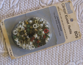 Vintage Eyelets Metal Brass and Colors Package of 175 - for Bags, Weskits, Lacing, Belts Mid-Century 1950's Package