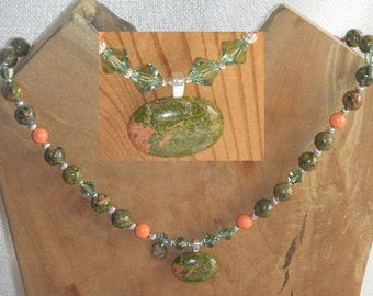 Bright Forest Colors Unakite Necklace with Unakite Pendant Gorgeous North Carolina Chaldedony Green & Orange with Silver