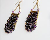 Chandelier Gemstone Earrings, Dark Amethyst Chandelier & 14 kt. Gold Filled Earrings - Water Fall, February Birthstone