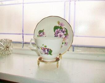 Royal Kent Tea Cup and Saucer Vintage Bone China Purple Geraniums