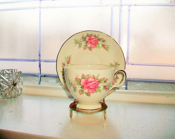 Queen Anne Tea Cup and Saucer Pink Roses Vintage