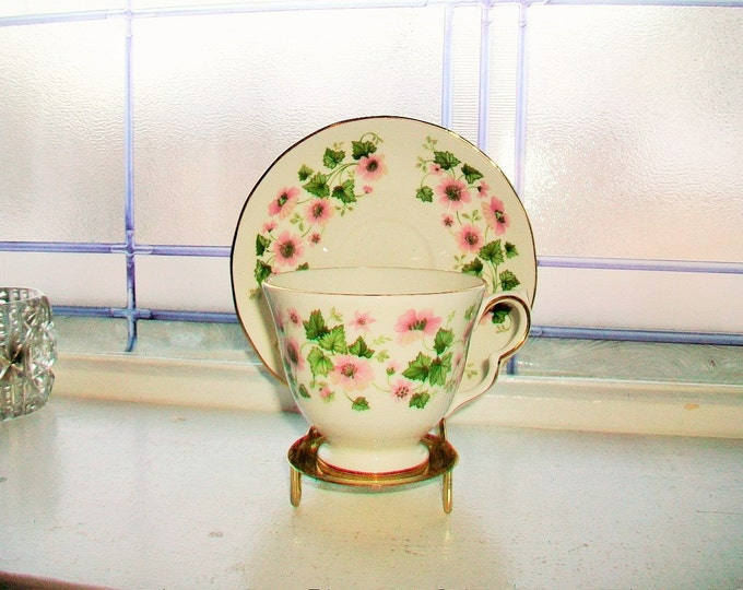 Queen Anne Tea Cup and Saucer Pink Flowers Vintage Bone China Made in England