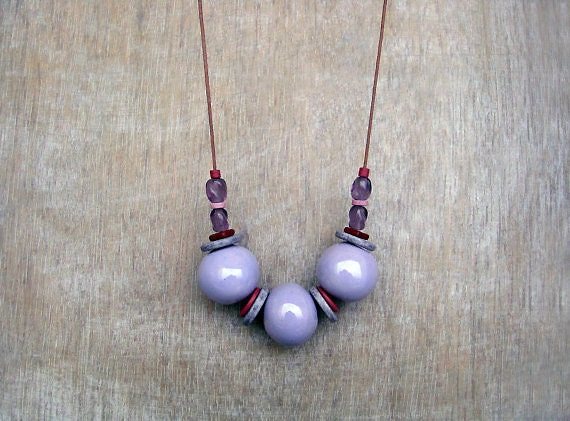 Purple Ceramic  Necklace, Clay Necklace, Beaded Necklace,Long Necklace