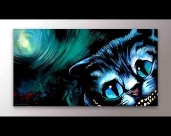 Cheshire Cat Art | Alice in Wonderland Decor | Signed Print | Cat Artwork | Animal Art | Black Cat | Alice in Wonderland Art | Cheshire Art