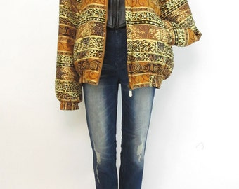 Vintage 1980s Silk Lined Puffy Animal Print Tribal Coat