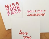 Valentines Card - I love you card - Friendship Card - Long Distance Relationship Cards - 3 pack