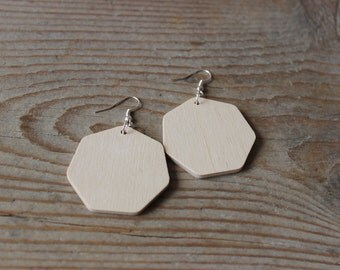Woodearring blanks / 5 pairs /  geometric earring blanks /  heptagon shape / diy jewelry supplies / wooden shapes / wooden embellishments