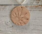 Blush Ceramic Tribal Pendant, Boho, Zen, Tribal, Geometric, Sunburst, Spring, Unique Gift, Ceramic Jewelry
