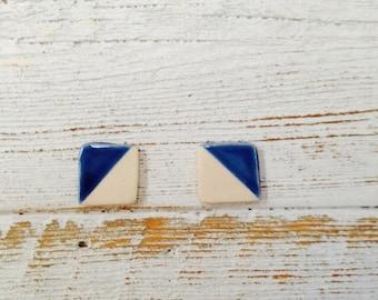 Royal Blue Ceramic Modern Earrings, Square, Minimal, Modern, Geometric, Unique Gift, Ceramic Jewelry