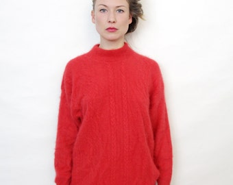 Vintage Red Angora Wool Slouchy Sweater