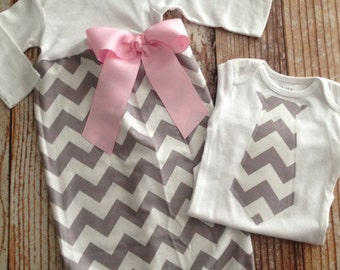 Baby Gift Set - Twins - Brother Sister - Gray Chevron