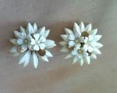 Vintage  Coro White Flower Rhinestone Center Earrings
