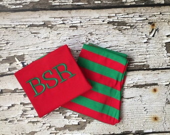 Red Green Embroidered Pajamas - Personalized Christmas PJs - Monogrammed PJS