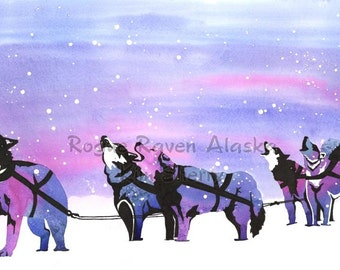 Snow Song - a limited edition print of a dog team, singing/howling in the snow