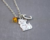 Silver Cat Necklace - Cat Jewelry - Kitty Necklace - Cat Pendant - Pet Jewelry - Personalized Necklace - Animal Necklace - Pet Necklace