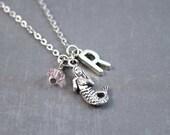 Silver Mermaid Necklace - Mermaid Jewelry - Fantasy Necklace - Mermaid Pendant - Personalized Necklace - Ocean Jewelry - Beach Necklace