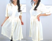50s Vintage Sheer Off White Button Down Pleated & Textured  Midi Dress