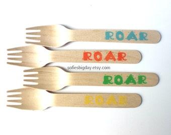 Dinosaur forks-25 dinosaur spoons-Dinosaur birthday-Dinosaur party-Roar forks-boy birthday-1st birthday -25 count