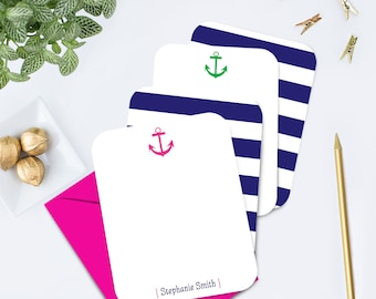 Anchor Personalized Flat Note Cards Nautical Stationary Custom Note Cards Preppy Personalized Stationary Anchor Notecard Set Thank You Cards