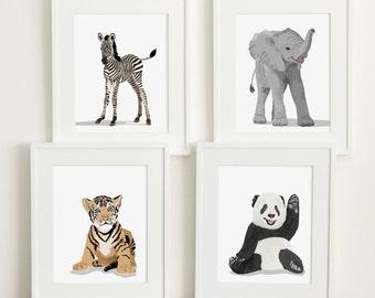 baby animal nursery art, modern minimalist nursery, set of four unframed prints, zoo animal childrens art zebra, elephant, etc nursery decor