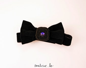 Black velvet bow tie, unisex bow tie, beaded bow tie - value. no status. - MADE TO ORDER