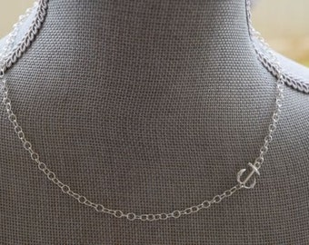 Silver Side Anchor Necklace / Sterling Silver Plated Side Anchor Necklace / Simple Anchor Necklace
