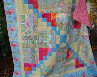 Handmade Quilt Modern Floral Tropical Mod Flowers Small Double Bright Batik Colors Bed Quilt